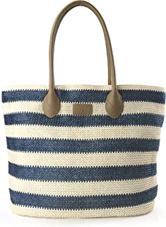 Striped Synthetic Straw Women's Tote Light Weight Vaction Shoulder Handbag