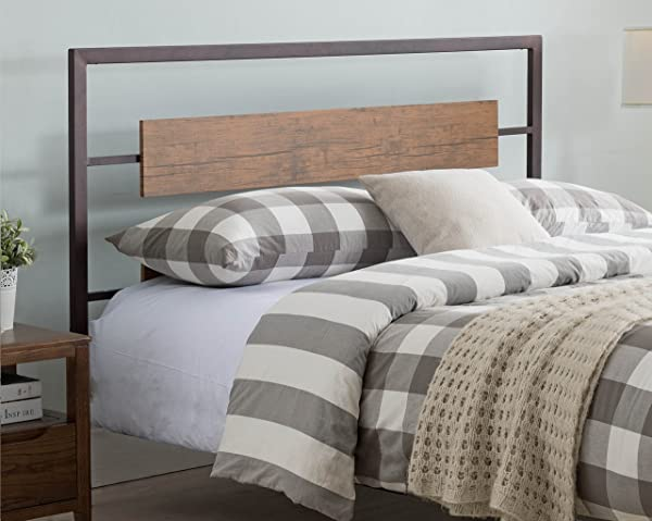 Kings Brand Furniture Verona Pewter Metal Walnut Wood Twin Size Headboard