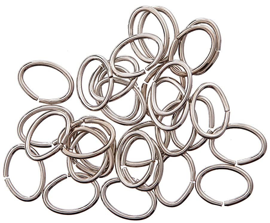 Darice BF1034 Open Oval Jump Rings, 6mm by 8mm, 20 Gauge, Bright Silver, 100 Pieces