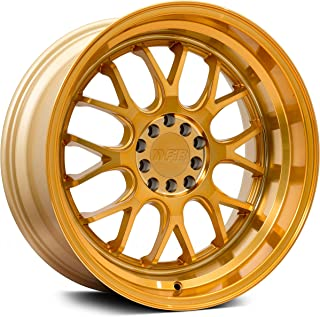 F1R F21 Gold Wheel with Machined Finish (18 x 10.5 inches /5 x 100 mm, 20 mm Offset)