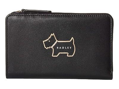 Radley London Heritage Dog Outline Medium Bifold Purse (Black) Wallet Handbags