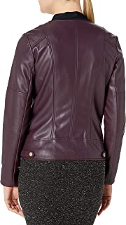 Calvin Klein womens Moto Jacket With Detailed Seams and Zippers