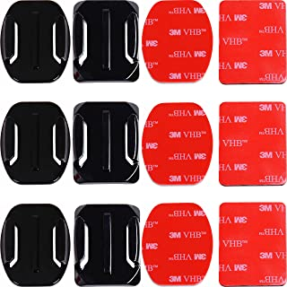 Adhesive Mounts for GoPro Cameras - 3X Curved & 3X Flat Mounts Bundle w/ 3M Sticky Pads- Tape Mount to Your Helmet/Bike/Board/Car- Fits All Go Pro Models - Premium Camera Accessories