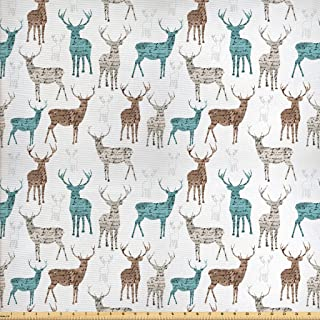 Ambesonne Deer Fabric by The Yard, Animals with Old Text Pattern Christmas Theme Vintage Inspired Illustration, Decorative...