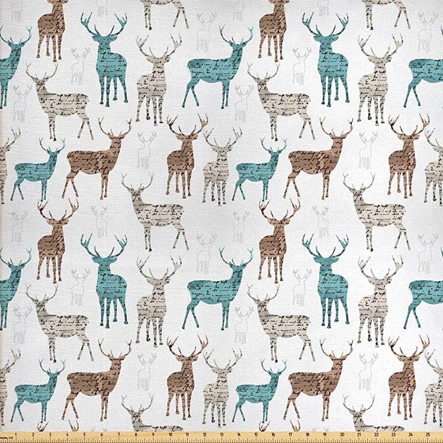 Ambesonne Deer Fabric by The Yard, Animals with Old Text Pattern Christmas Theme Vintage Inspired Illustration, Decorative Fabric for Upholstery and Home Accents, 3 Yards, Turquoise Brown Beige