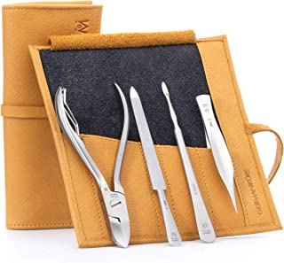GERMANIKURE 4pc Pedicure Set in Yellow Leather Case - Made in Solingen Germany, FINOX Stainless Steel Tools – Professional...