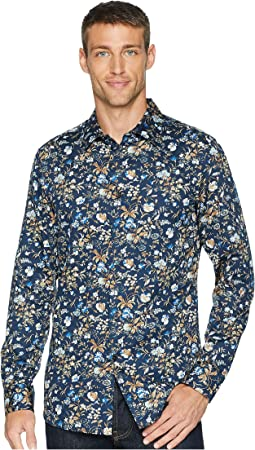Slim Fit Satin Floral Print Shirt