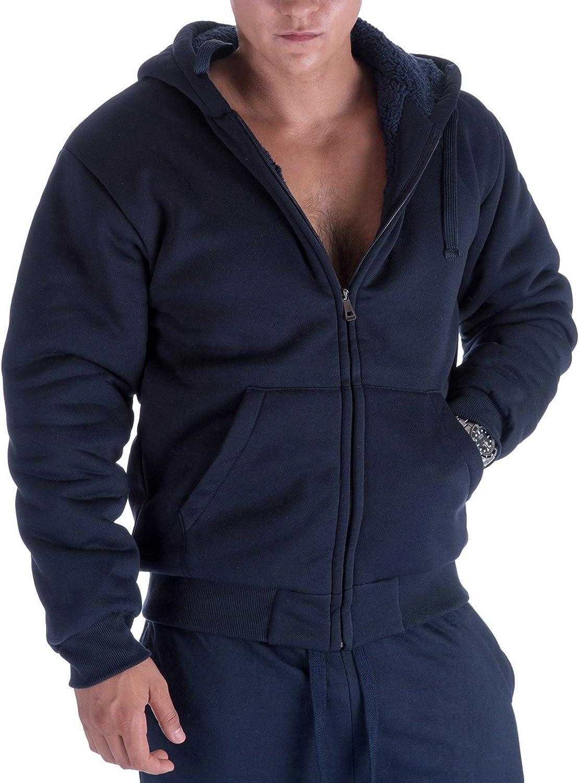 Mens Zip Up Hoodie Heavyweight Winter Sweatshirt Fleece Sherpa Lined Warm Jacket
