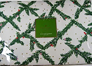 Kate Spade Holiday Placemats Pine Needles Green and White 100% Cotton 13 x 19 4 Pack.