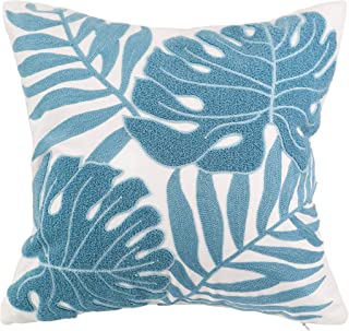Hodeco Decorative Throw Pillow Covers Light Blue Leaves Embroidery Floor Pillows Cover for Couch 100% Cotton Cushion Cover Pillow Case Teal Plant Monstera Leaf Loop Embroidered 18 x 18 Inches, 1 Piece