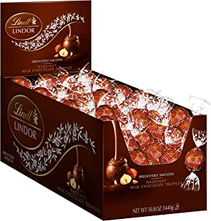 Lindt LINDOR Hazelnut Milk Chocolate Truffles, Kosher, 120 Count Box, 50.8 Ounce