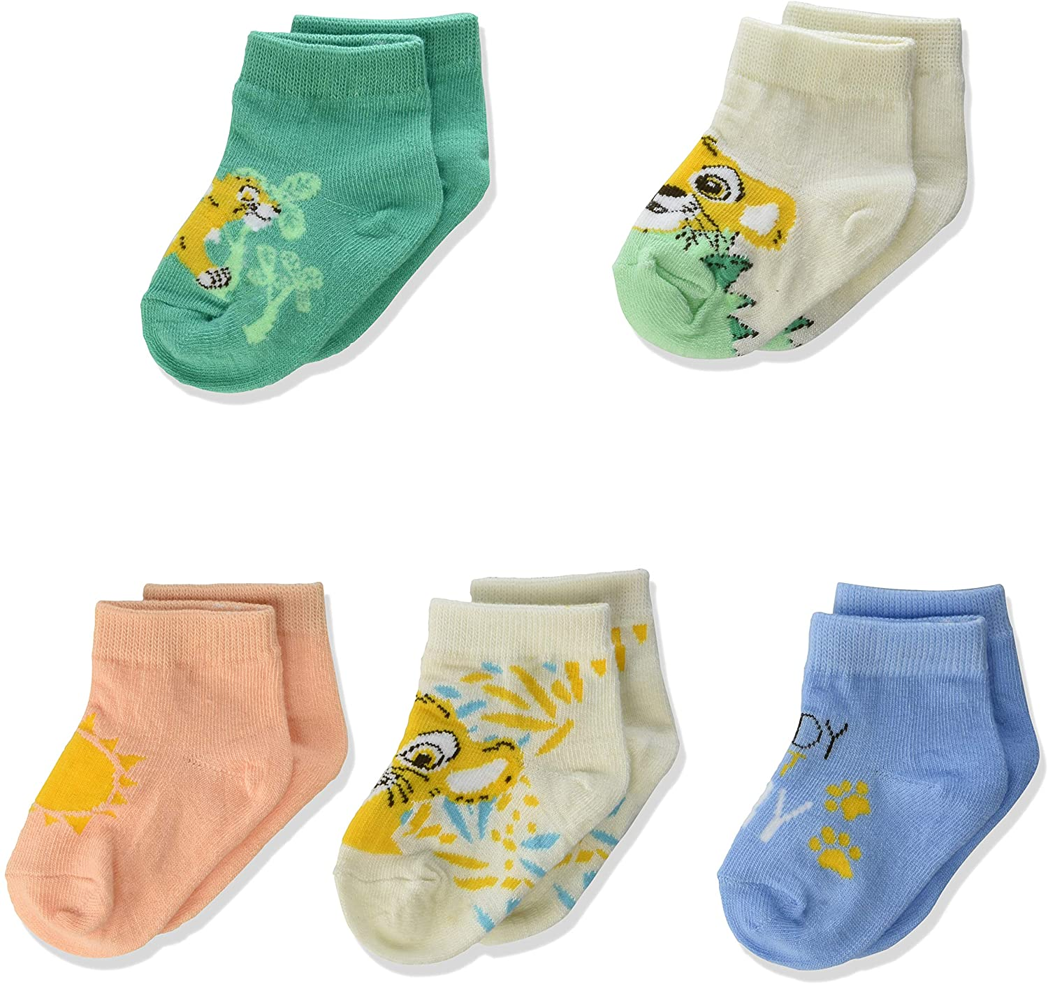 Lion King Live Action Baby 5 Pack Shorty Socks