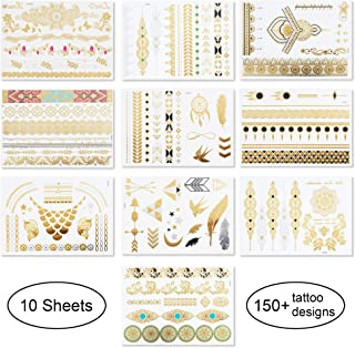 10 Sheets Temporary Tattoos - Over 150 Body Sexy Lace Tattoos Pattern Gold And Silver Professional Dancer Flash Waterproof...