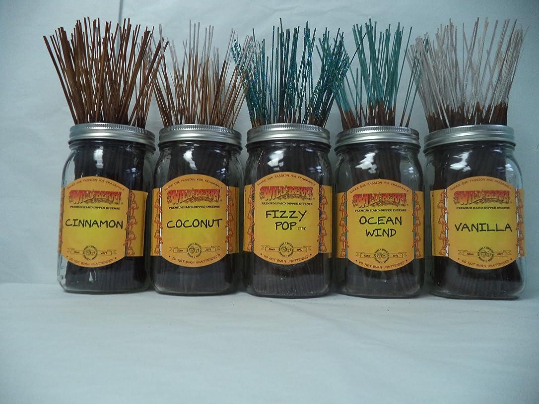 強制的囲む冷笑するWildberry Incense Sticks Best Sellerセット# 4?: 10?Sticks各5の香り、合計50?Sticks 。