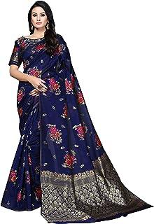Soru Fashion Women's Banarasi Cotton Art Silk Saree with Blouse Piece (Cott-826_Dark Blue)