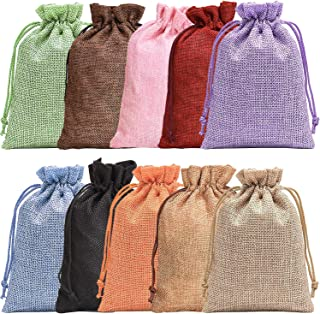 Noverlife 10PCS Colorful Burlap Bag Drawstring Gift Bags Jute Bag Hessian Linen Sacks Jewelry Pouches for Wedding Party Favors Candies DIY Crafts - 5x7in (13x18cm)