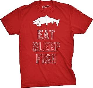 Mens Eat Sleep Fish T Shirt - Funny Vintage Fishing Outdoors Tee
