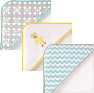 Luvable Friends Unisex Baby Cotton Terry Hooded Towels, Scuba Duck, One Size