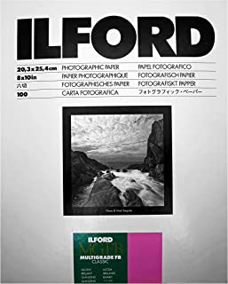 Ilford Multigrade IV FB Fiber Based VC Variable Contrast Double Weight Black and White,8x10, 100 Sheets Glossy, Enlarging Paper (1833489)