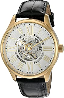 Invicta Men's 'Vintage' Automatic Stainless Steel and Leather Casual Watch, Color:Black (Model: 22568)