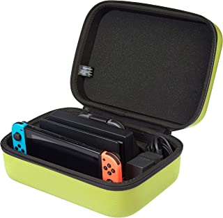 AmazonBasics Hard Shell Travel and Storage Case for Nintendo Switch - 12 x 4.8 x 9 Inches, Neon Yellow