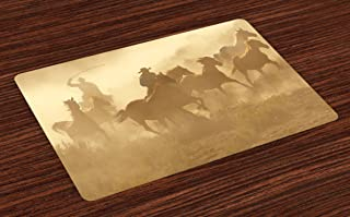 Lunarable Western Place Mats Set of 4, Galloping Running Horses in Desert 2 Cowboys Roping Dusty Wild Rural Countryside, Washable Fabric Placemats for Dining Table, Standard Size, Camel