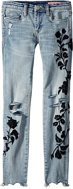 Floral Embroidered Denim Skinny in Shadow Bloom (Big Kids)