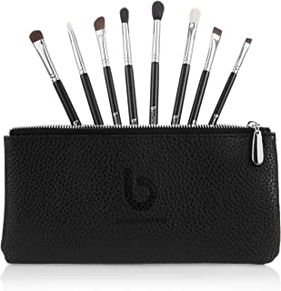 Eyeshadow Blending Makeup Brush Set – Free Case Includes 8 Must Have Eye Shadow & Eyeliner Brushes: Pencil, Tapered Blending, Crease, All Over Shader, Eye Liner, Angled Shading, Flat Definer, Blending