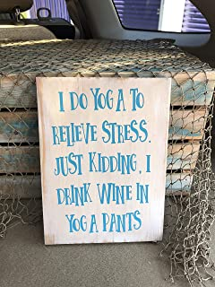 Yoga Sign Wine Sign Vintage Wood Sign Rustic Wooden Signs Wood Block Plaque Wall Decor Art Farmhouse Home Decoration Gift - 7x12 Inches