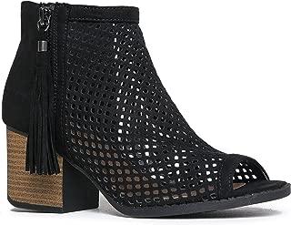 J. Adams Maya Perforated Booties – Peep Toe Chunky Block Heel Tassel Ankle Boots