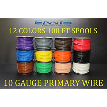 10 GAUGE WIRE ENNIS ELECTRONICS 12 COLORS 100 FT SPOOLS PRIMARY REMOTE HOOK UP AWG COPPER CLAD