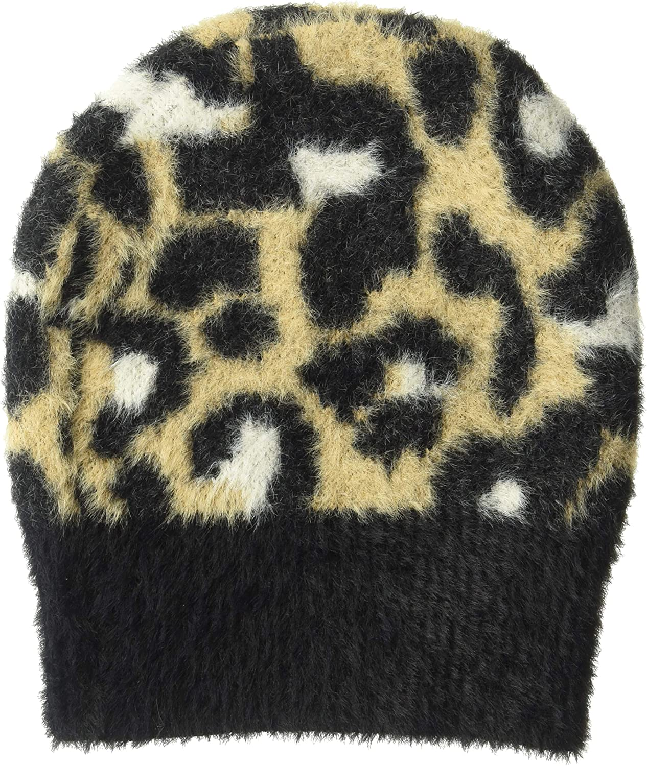 Daily Ritual Women's Animal Print Fuzzy Knit Scarf, Beanie, and Mittens Set