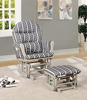 Naomi Home Brisbane Glider & Ottoman Set Light Gray/Gray Stripe Polka