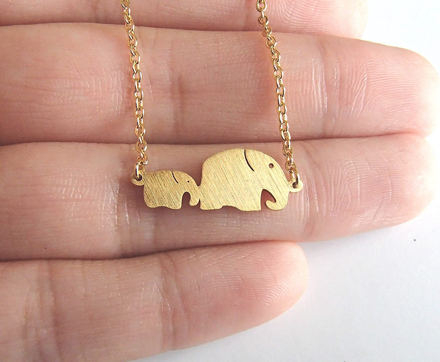 """Rosa Vila Mom and Baby Elephant Necklace Elephant Jewelry for Women and Girls Mothers Day Grandmother Necklace 17/"""" Chain Animal Jewelry for Big Sister Mom Jewelry"""