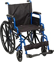 Best Drive Medical Blue Streak Wheelchair with Flip Back Desk Arms, Swing Away Footrests, 18 Inch Seat Reviews