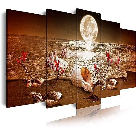 DekoArte 440 - Cuadros Modernos Impresión de Imagen Artística Digitalizada | Lienzo Decorativo Para Salón o Dormitorio | Estilo Piasaje noche Luna Iluminando Playa Flores Rojas | 5 Piezas 200x100cmXXL