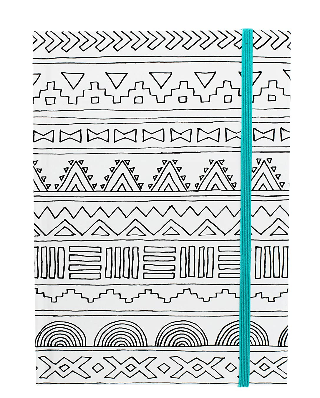 American Crafts 373594 Adult Coloring Books 5 x 7 Elastic Notebook Tribal 80 Sheets