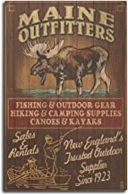 Lantern Press Maine - Moose Outfitters Vintage Sign (10x15 Wood Wall Sign, Wall Decor Ready to Hang)