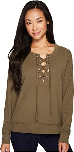 Mod-o-doc - Soft as Cashmere Cotton Interlock Lace-Up Sweatshirt