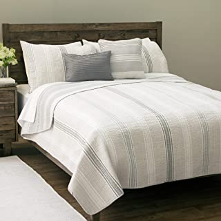 Design Studio Sanibel Island 5-Piece Cotton Quilt Set With Shams, Striped Pattern, Modern,Comfort and Warmth, Full Queen, Gray/White