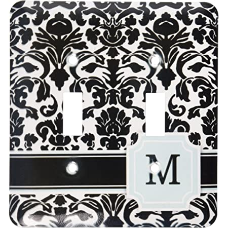 3drose Lsp 154362 2 Letter M Personal Monogrammed Mint Blue Black And White Damask Pattern Classy Personalized Initial Double Toggle Switch Switch Plates Amazon Com