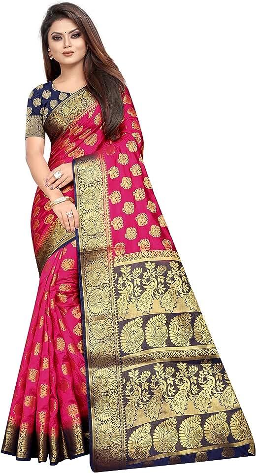 Indian PERFECT WEAR WOMEN'S ETHNIC WEAR BANARASI COTTON SILK SAREE. (AAKSARA) Saree