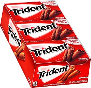 Trident Cinnamon Sugar Free Gum - with Xylitol - 12 Packs (168 Pieces Total)
