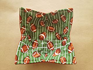 Football Microwave Bowl Cozy Stadium Field Reversible Microwave Potholder Football Bowl Holder Sports Kitchen Linens PE Teacher Coach Tailgate Handmade Gifts Under 10