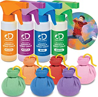 Discovery Kids 10-Piece Chalk Blast Play Set with Washable Chalk Pods & Spray Art