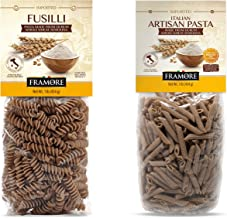 FRAMORE, Whole Wheat Pasta Fusilli one pound plus Penne Artisan Italian made of durum semolina flour Imported from Italy i...