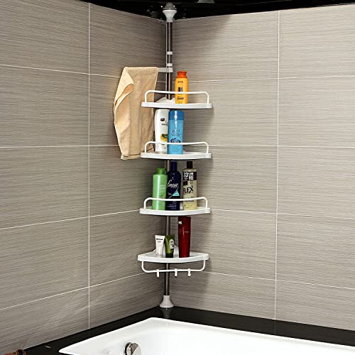 bi3 Blossoms 4 Tier Adjustable Bathroom Organiser Corner Shower, Stainless Telescopic Shelf Rack Caddy - (95 - 300cm)