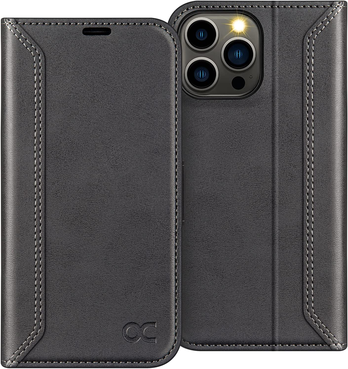 OCASE Retro Series Compatible with iPhone 13 Pro Max Wallet Case with Card Holders [RFID Blocking][TPU Inner Shell ][Kickstand] Shockproof PU Leather Flip Folio Phone Cover 6.7 inch 2021 (Black)