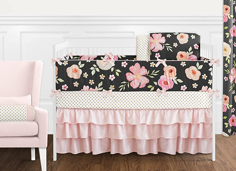 Sweet Jojo Designs Black Blush Pink And Gold Shabby Chic Watercolor Floral Baby Girl Crib Bedding Set With Bumper 9 Pieces Rose Flower Polka Dot