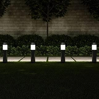 "Pure Garden 50-LG1063 Solar Path Bollard, Set of 6-15"" Stainless Steel Outdoor Stake Lighting for Garden, Landscape, Yd, Driveway, Walkway (Black)"